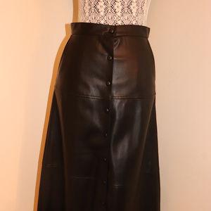 Zara Long Faux Leather High-waist Skirt